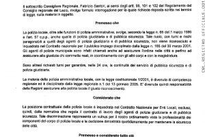 Santori (Regione Lazio): discriminazione Polizie Locali vulnus del nostro Ordinamento