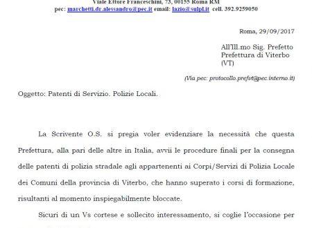 Viterbo: I ritardi della Prefettura sulle patenti delle Polizie Locali