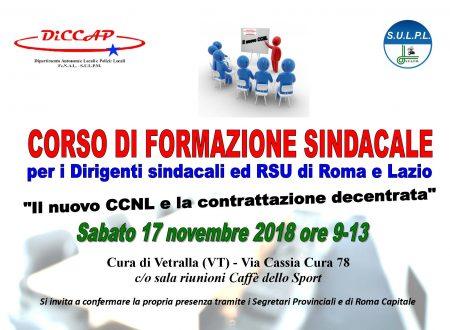 CORSO DI FORMAZIONE SINDACALE A VETRALLA (VT) il 17/11/2018