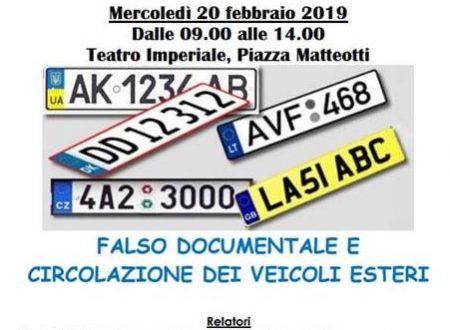 Guidonia Montecelio (RM): Corso sul Falso documentale e circolazione veicoli esteri il 20/02/2019