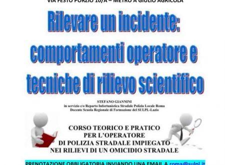 RILEVARE GLI INCIDENTI STRADALI, CORSO DI FORMAZIONE A ROMA il 28/02/2019