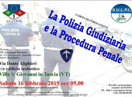 CORSO DI P.G. A VILLA S. GIOVANNI IN TUSCIA (VT) il 16/02/2019