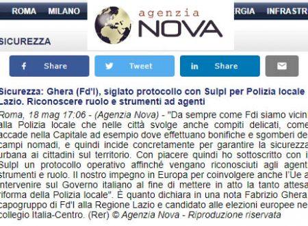 PROTOCOLLO OPERATIVO SULLE POLIZIA LOCALI: GHERA E FRATELLI D'ITALIA ADERISCONO