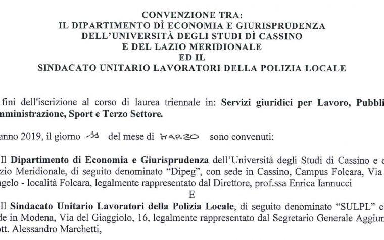 Convenzione SULPL-UniCassino – riconosciuto il ns lavoro come credito formativo
