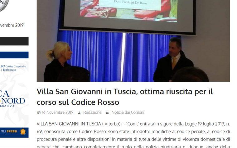 CODICE ROSSO, IL CORSO NELLA TUSCIA – rassegna stampa