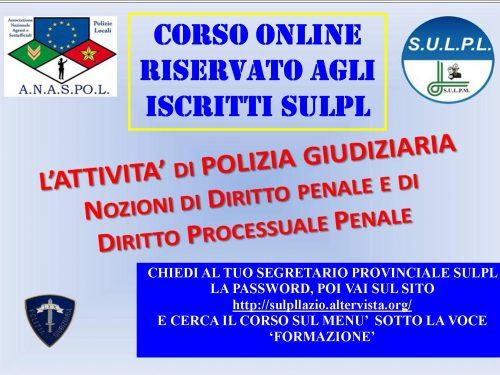 Protetto: CORSO DI POLIZIA GIUDIZIARIA online riservato Iscritti SULPL Lazio