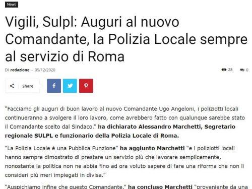 Il Messaggero e La Repubblica, due interpretazioni del nostro messaggio di auguri al nuovo Comandante della PL di Roma