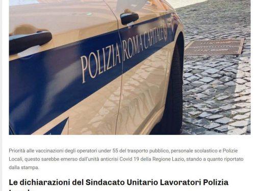 Vaccini alla Polizia Locale soltanto per gli under 55: solo che l'età media dei poliziotti locali è 57 anni !!!