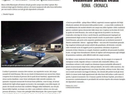 """Roma, Sulpl: """"Tutele per gli agenti di Polizia Locale che vigilano sulla quarantena nei campi rom"""""""