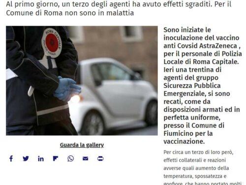 Roma: Bene le vaccinazioni, ma in caso di malessere occorre riconoscere l'infortunio Covid, assurdo che il lavoratore ci rimetta i soldi