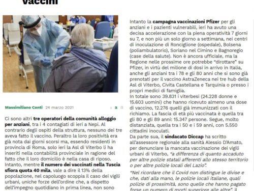 Viterbo: il Sulpl sollecita la regione ad avviare le vaccinazioni delle P.L.