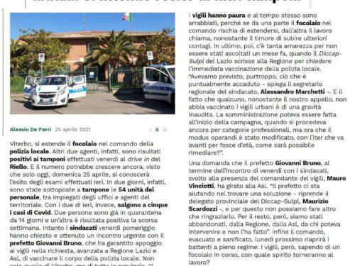 Viterbo: protesta del Sulpl, polizie locali senza vaccino e il Comando di Viterbo è colpito dal Covid