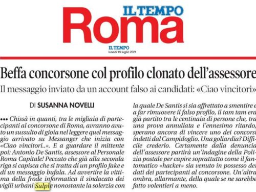 Roma: il SULPL scopre un profilo clonato dell'Assessore, salvando forse qualche candidato da possibili truffe