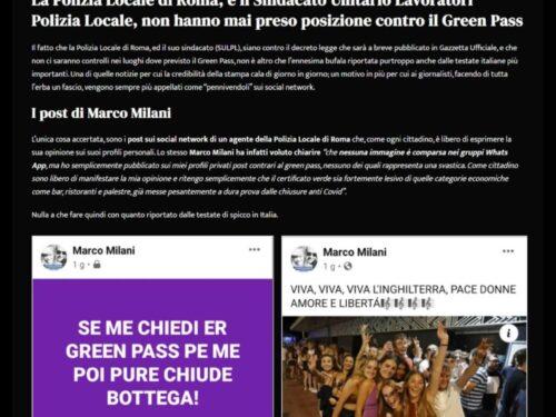 Polizia Locale di Roma e Green Pass: ennesima fake news
