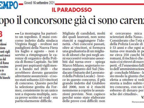 Roma, Concorso: un errore non prevedere idonei in lista, ora occorrerà farne un altro